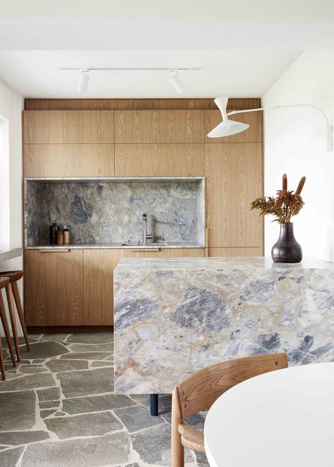 kitchen design ideas marble island and crazy paving slate floor by studio esteta