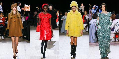 Fashion model, Fashion, Fashion show, Clothing, Runway, Street fashion, Yellow, Footwear, Fashion design, Outerwear,
