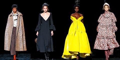 Fashion model, Fashion, Clothing, Yellow, Runway, Outerwear, Costume design, Fashion show, Fashion design, Event,