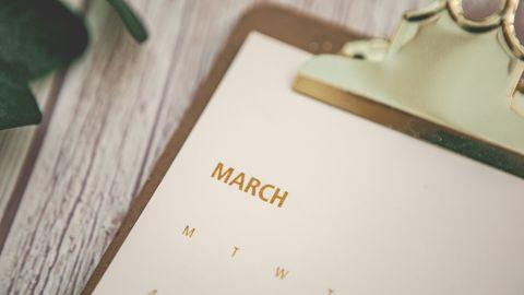 march calendar top view