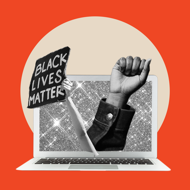 composition of hands holding a black lives matter sign coming out of a computer
