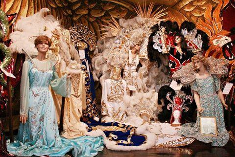 mannequins in elaborate mardi gras costumes