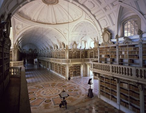 the library of the monastery in the national palace of mafra, by architect johann friedrich ludwig portugal, 18th century