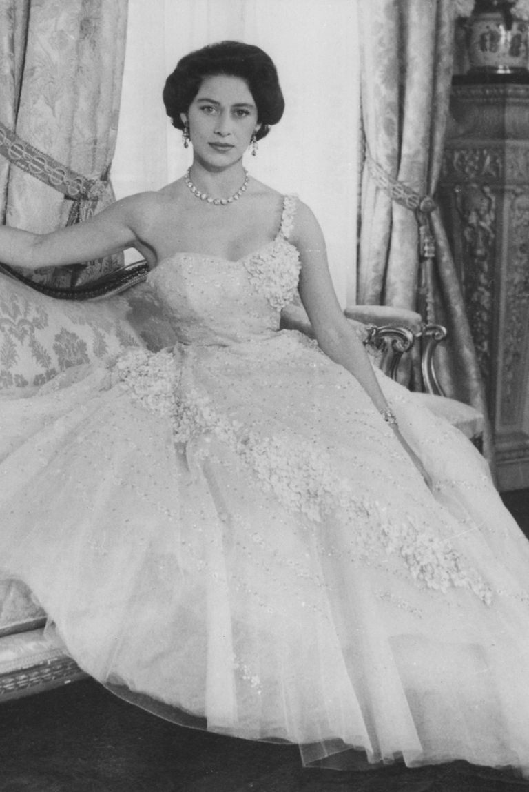 Margaret posed for her 26th birthday portrait wearing a one-shouldered pink tulle gown. The dress featured elaborate flower embroidery and sequins.