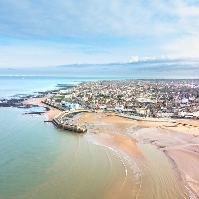 margate beach england drone aerial shot