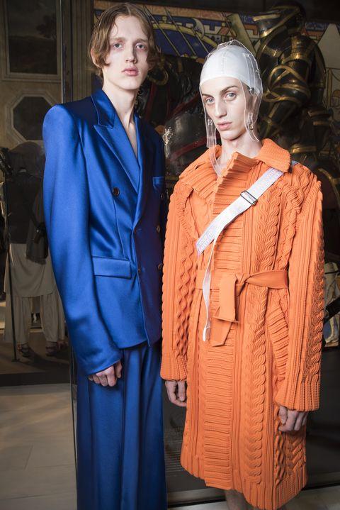 Clothing, Fashion, Fashion design, Outerwear, Electric blue, Suit, Pantsuit, Formal wear,