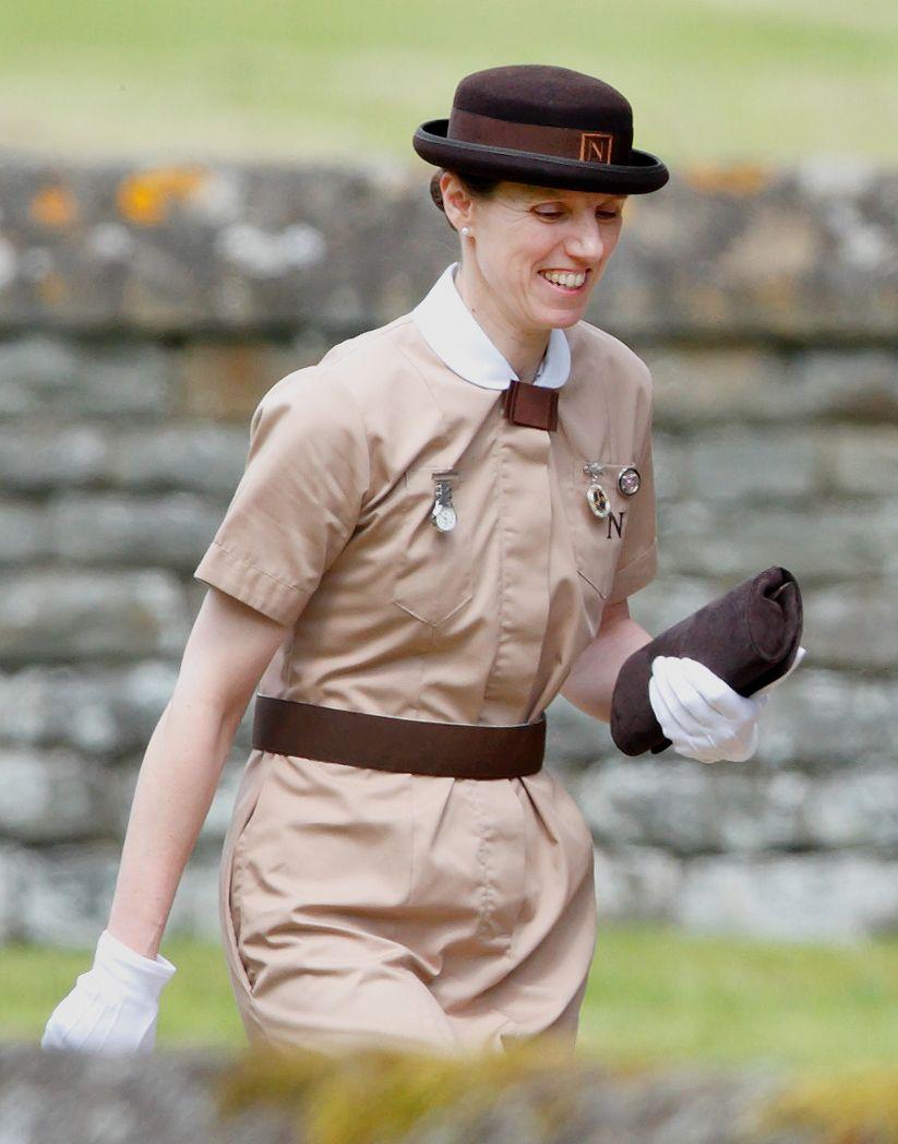 Royal nanny Maria Borallo in her signature uniform at Pippa Middleton's wedding.