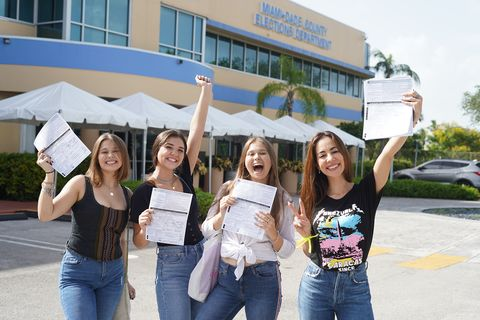 mariana atencio, sophia barreto, sophie kish and olivia kish registering to vote in miami, florida