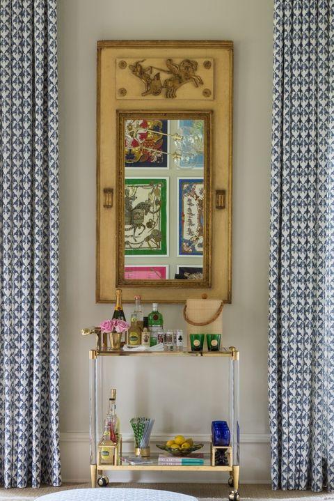 Room, Interior design, Curtain, Wall, Furniture, Wallpaper, Shelf, Home, Window, House,