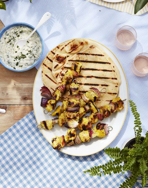 marinated chicken and onion kebabs