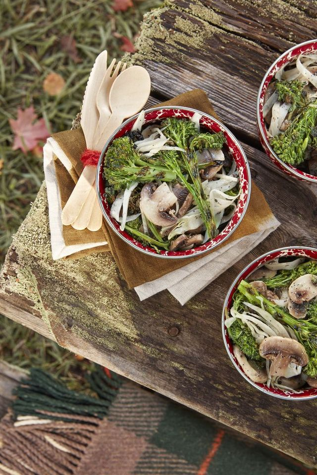marinated mushroom and charred broccolini salad healthy christmas recipe