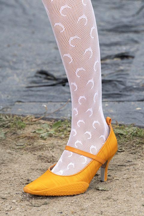 Footwear, White, Yellow, Orange, Shoe, Tights, Leg, Pink, Fashion, High heels,