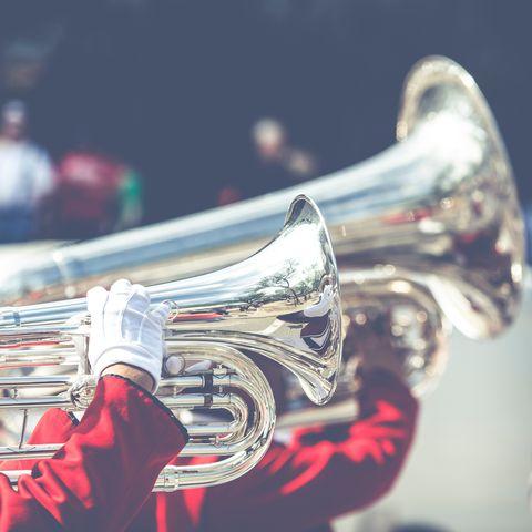 Brass instrument, Musical instrument, Wind instrument, Mellophone, Trumpet, Horn, Cornet, Bugle, Metal,