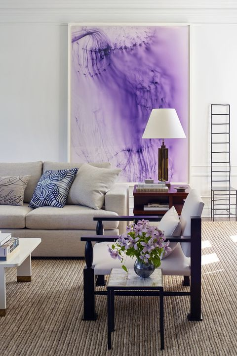 Living room, Purple, Furniture, Room, Violet, Interior design, Coffee table, Wall, Lilac, Table,
