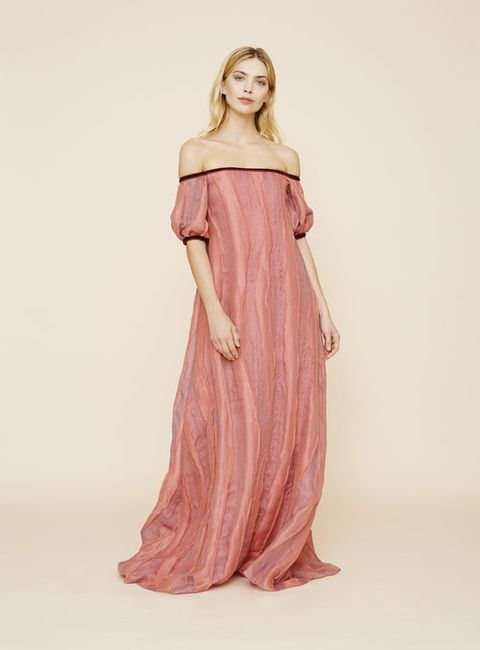 Clothing, Dress, Shoulder, Gown, Fashion model, Pink, Fashion, Day dress, Joint, Formal wear,
