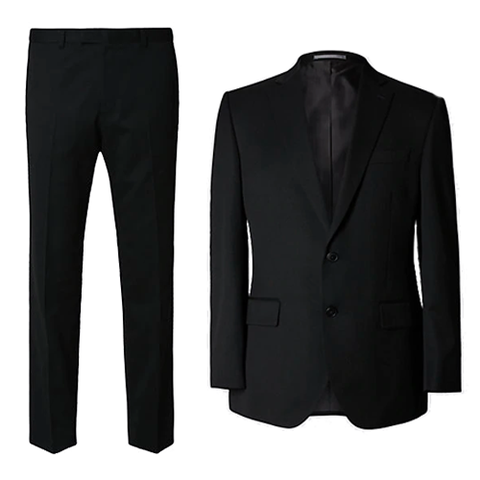 Suit, Clothing, Black, Outerwear, Formal wear, Blazer, Jacket, Tuxedo, Button, Sleeve,