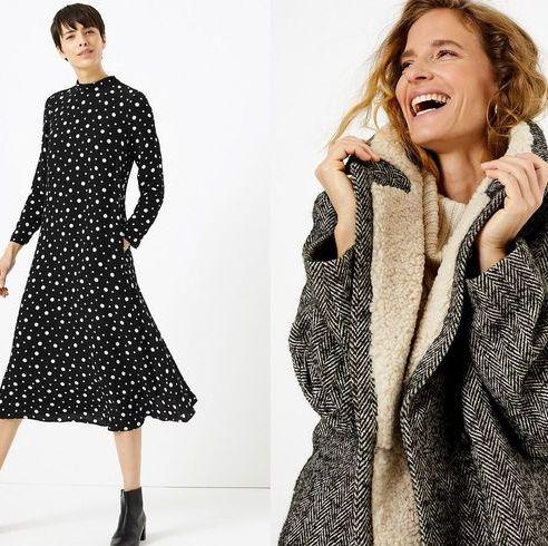 Clothing, Fashion model, Outerwear, Fashion, Overcoat, Pattern, Dress, Coat, Polka dot, Neck,