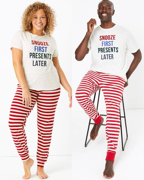 his and hers Christmas pyjamas