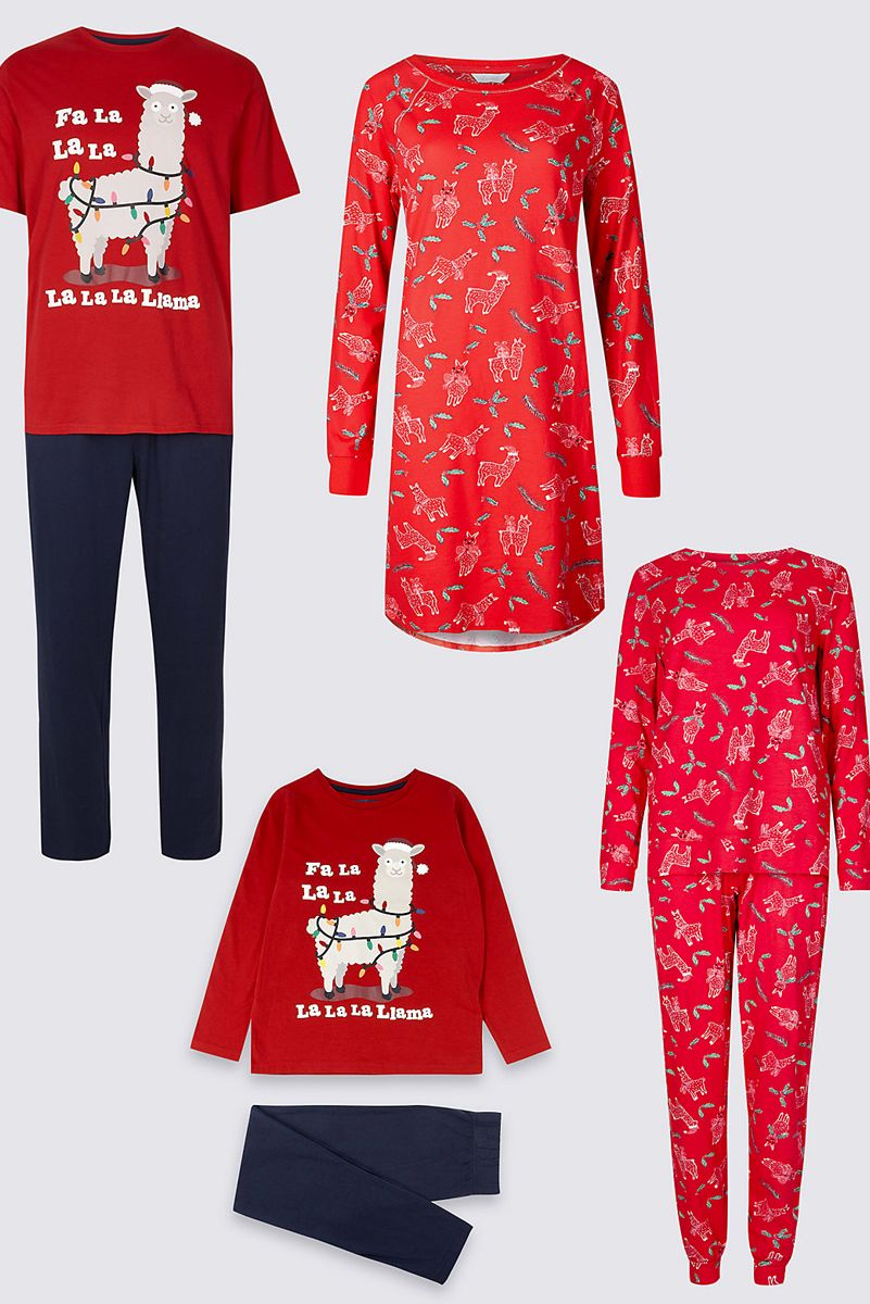 Marks & Spencer Llama Matching Christmas Pyjamas