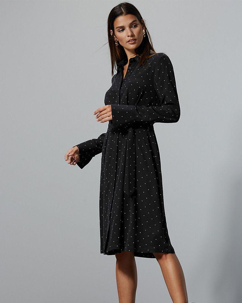 Marks & Spencer Pure Silk Printed Long Sleeve Shirt Dress