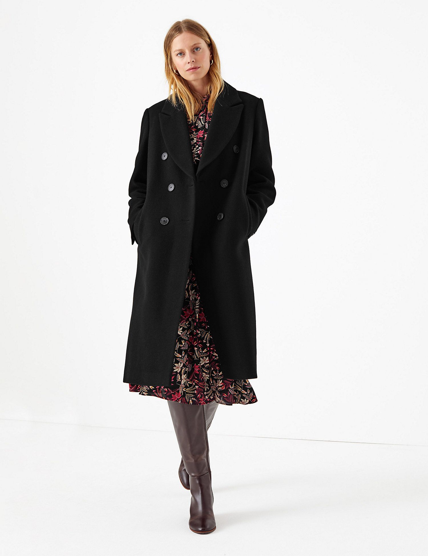 Marks & Spencer Wool Blend Single Breasted Coat   Melania