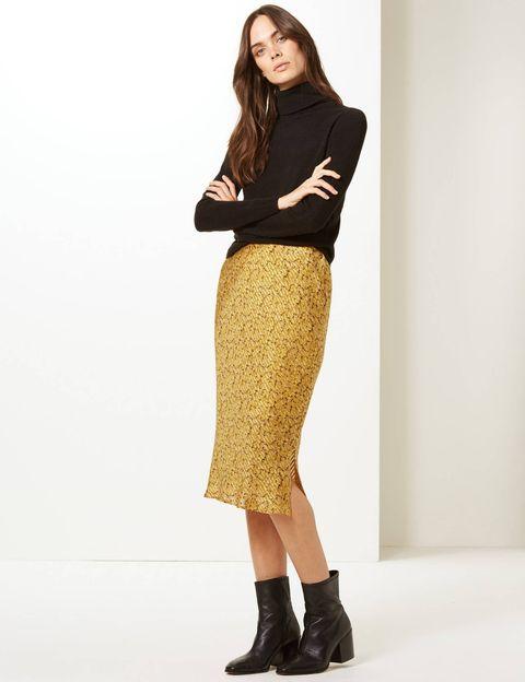 Marks & Spencer perfect autumn skirt, slip midi skirt