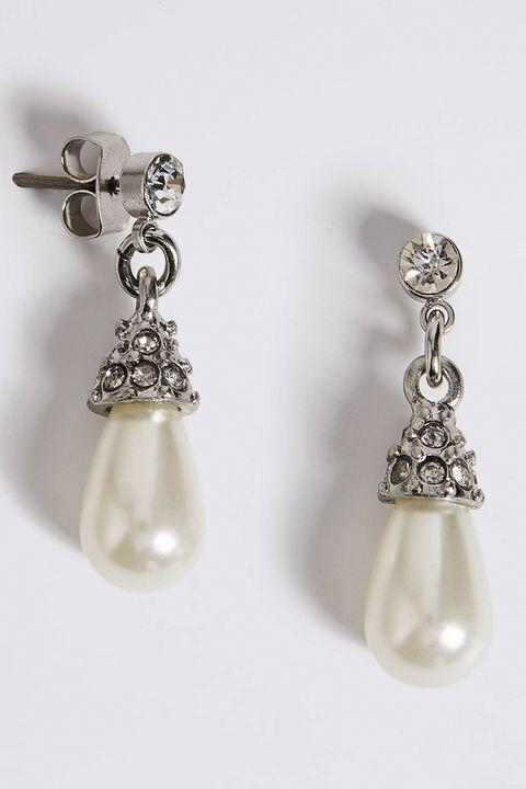 M&S Collection Pearl Effect Diamanté Almond Drop Earrings