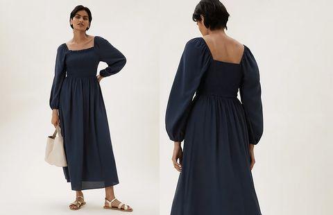 marks and spencer shirred dress
