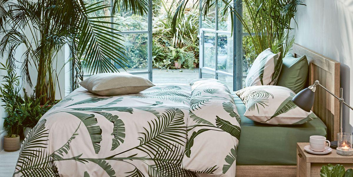 Palm Print Tropical Bedding Set, Botanical Print Bedding