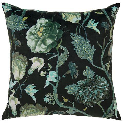 Velvet floral square cushion