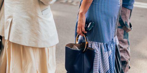White, Street fashion, Clothing, Blue, Fashion, Waist, Shoulder, Leather, Footwear, Eyewear,