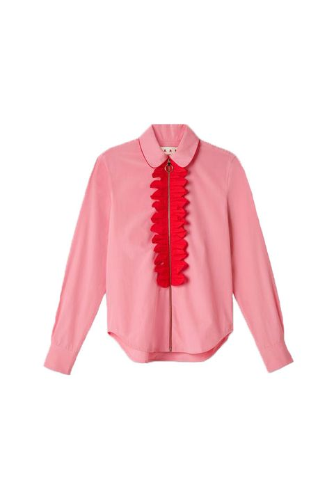 Clothing, Pink, Sleeve, Outerwear, Blouse, Collar, Top, Shirt, Jacket, Neck,