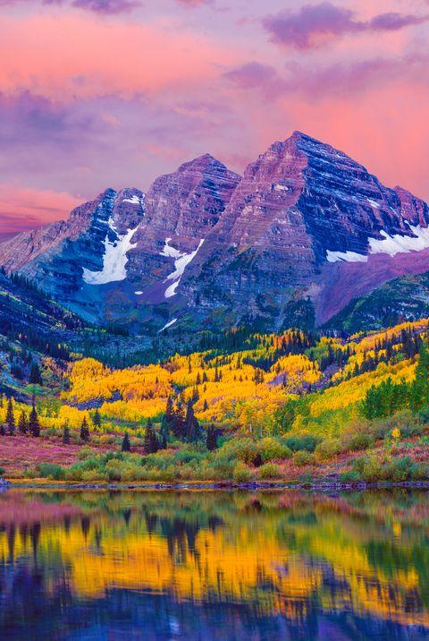 maroon bells autumn aspen trees,lake reflections,aspen colorado