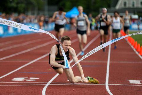Charlie Marquardt falls over finish line