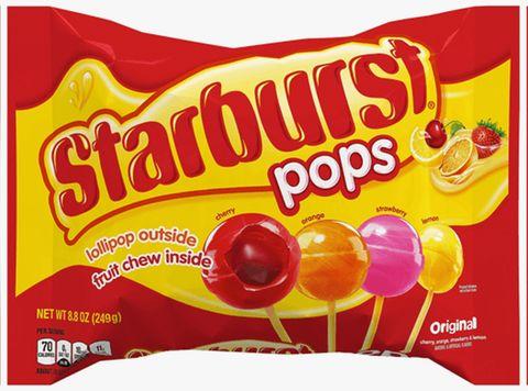 mars wrigley starburst pops lollipop outside fruit chew inside