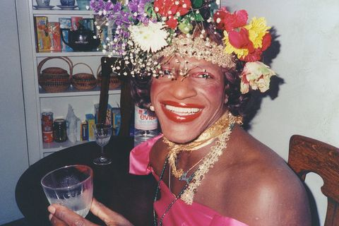 Marsha P Johnson wearing a flower crown