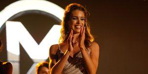 Marta López, novia de Kiko Matamoros, durante el certamen de Miss World Spain 2019