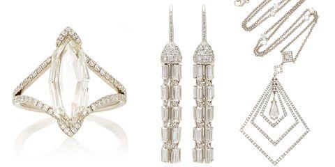 Jewellery, Earrings, Fashion accessory, Silver, Diamond, Platinum, Metal, Gemstone, Silver,