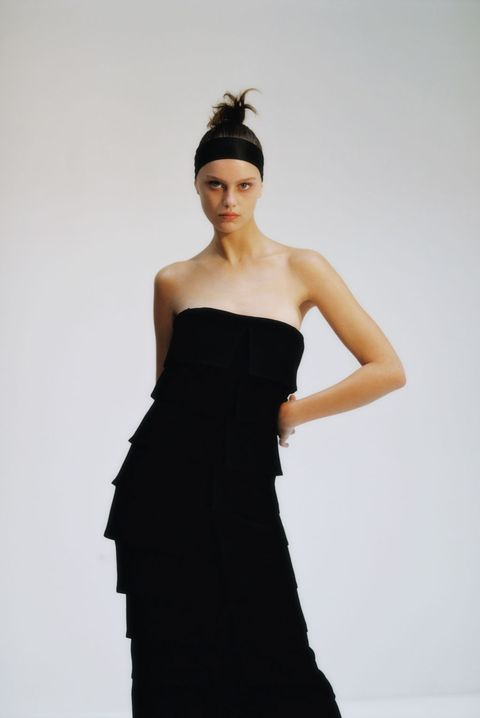 Dress, Clothing, Fashion model, Shoulder, Black, Strapless dress, Cocktail dress, Gown, Fashion, Beauty,