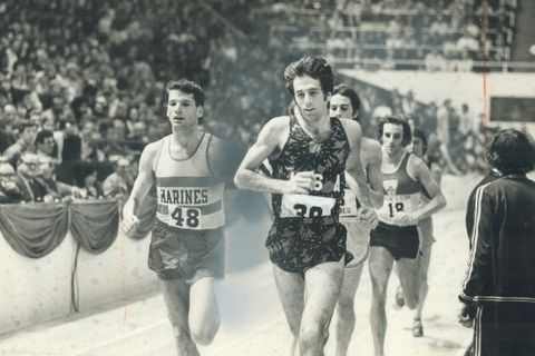 Marty Liquori who missed Olympics through injury; is making a comeback. He won mile in ultra-mod tra