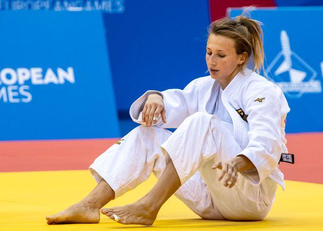 la judoca martyna trajdos en los juegos europeos del año 2019