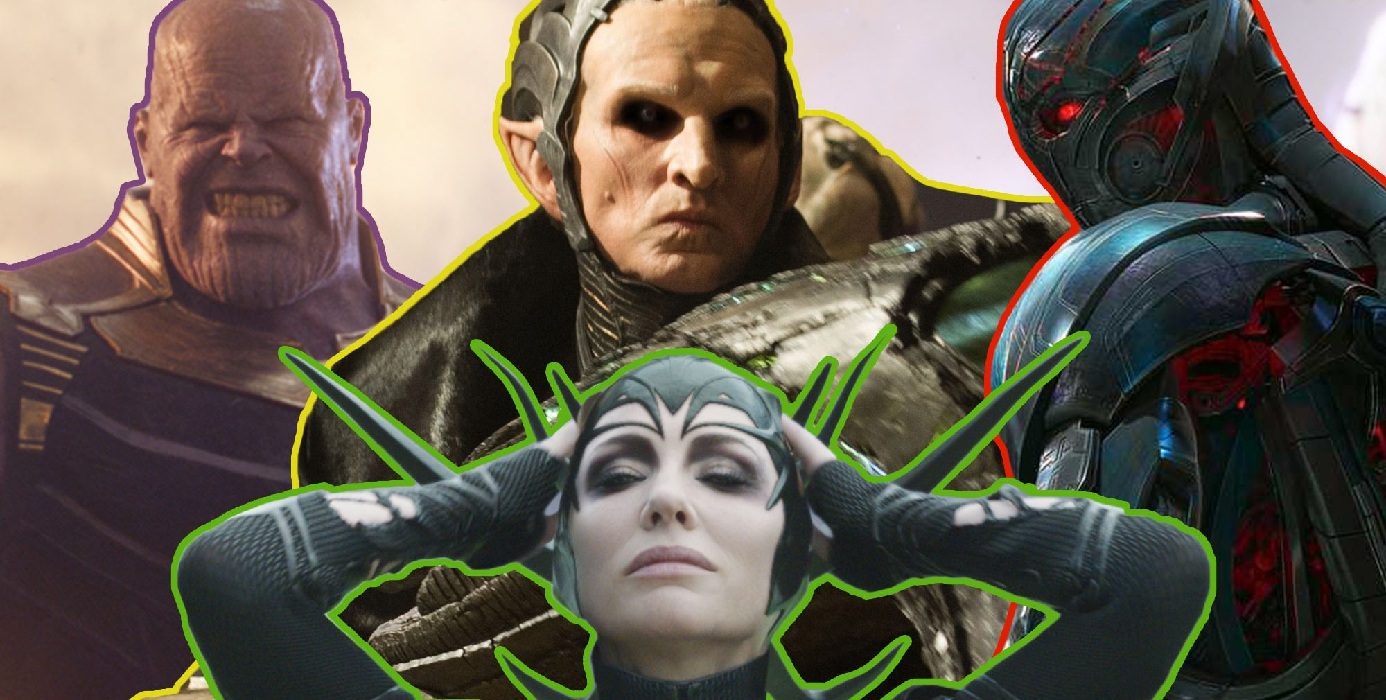 Marvel avengers villains, Thanos, Malekith, Hela, Ultron