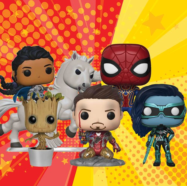 marvel funko pop figures compilation featuring valkyrie on a winged horse, spider man, baby groot, iron man and minn erva