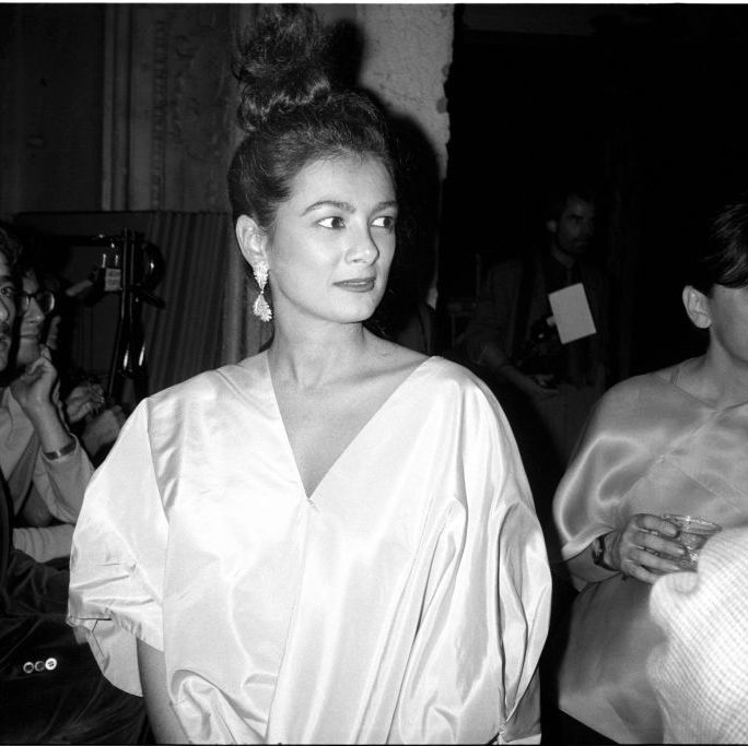 Mary Boone at the Christophe de Menil Fashion Show at the Palladium in 1985.