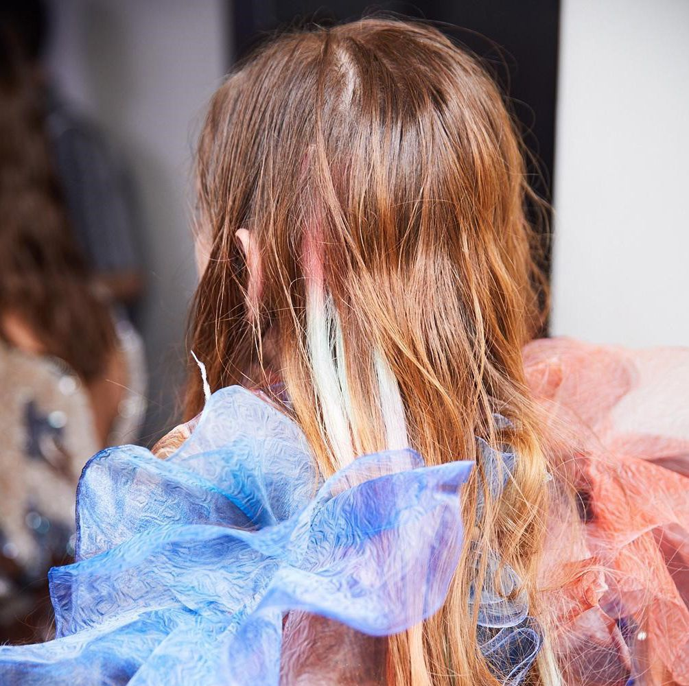Mary Katrantzou's AW19 'Cloud' Painted Rainbow Hair Is The Newest It Colour