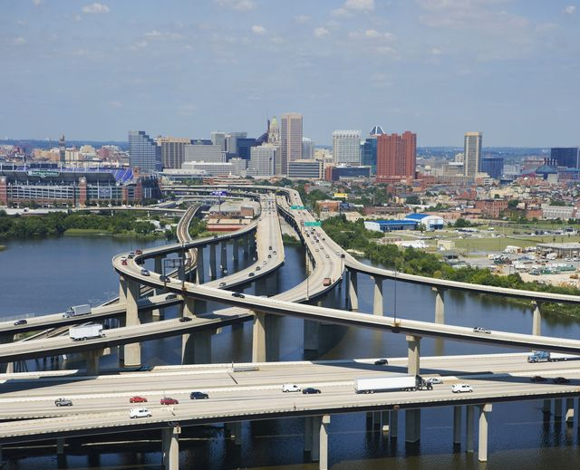 usa, maryland, baltimore, elevated highway interchange