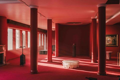 Red, Column, Room, Building, Interior design, Architecture, Ceiling, Material property, House,