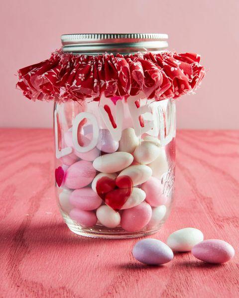 decorated valentine's candy jar