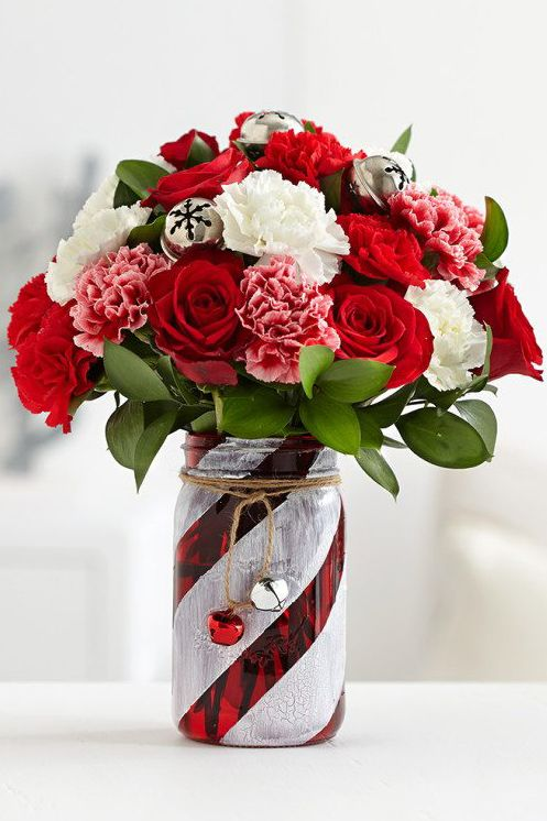 candy cane christmas mason jar flower arrangement craft
