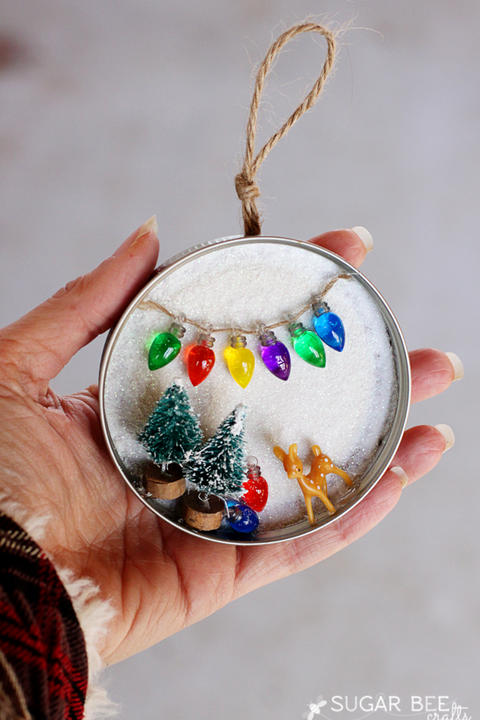 mason jar christmas crafts snowy lid ornament